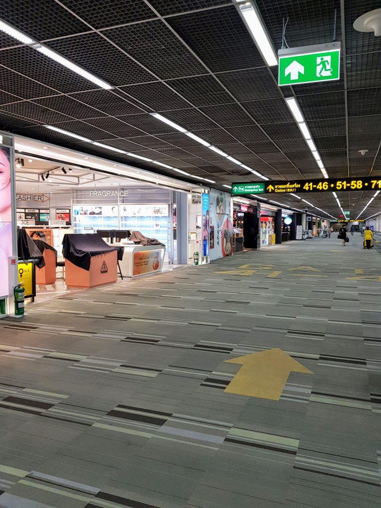 almost empty airport at bangkok don mueang
