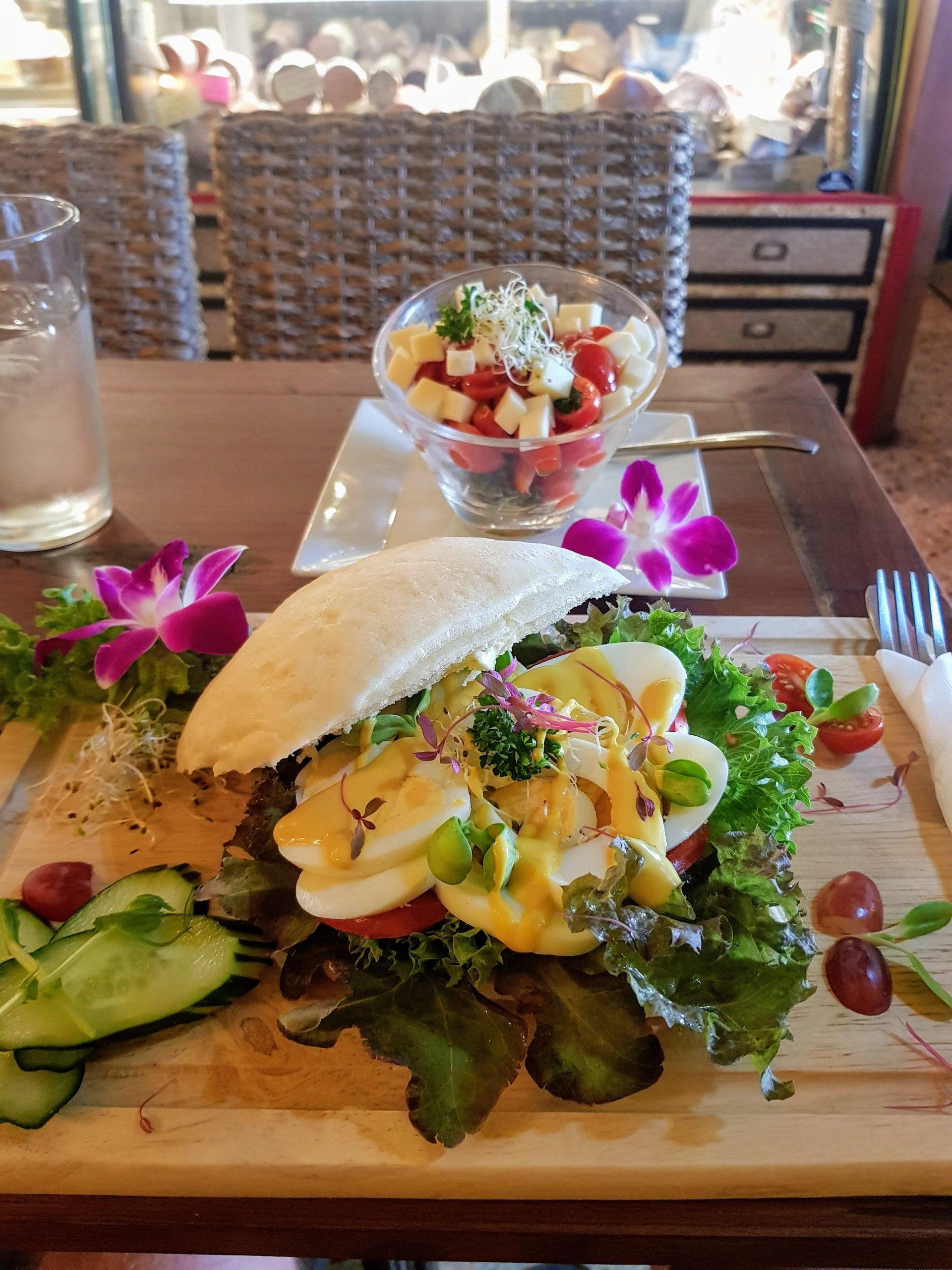 egg ciabata and tomatoe salad at the happy frog